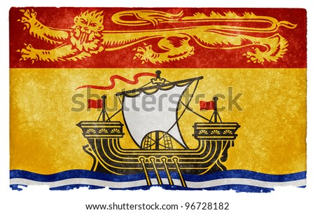 Grungy Flag of New Brunswick on Vintage Paper - stock photo