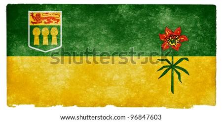 Grungy Flag of Saskatchewan on Vintage Paper - stock photo