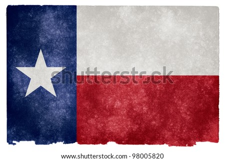 Grungy Flag of Texas on Vintage Paper - stock photo