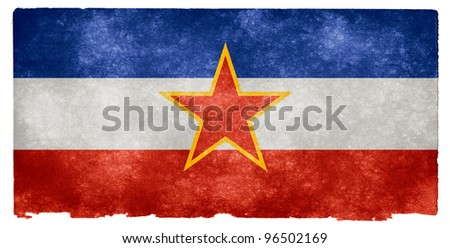 Grungy Flag of the former Socialist Federal Republic of Yugoslavia - stock photo