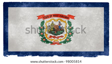 Grungy Flag of West Virginia on Vintage Paper - stock photo