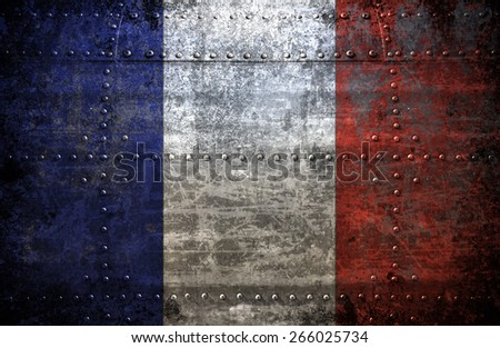 Grungy France  flag On a  Metal Texture - stock photo