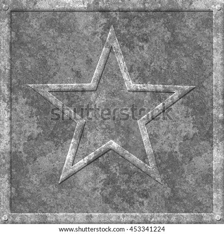 Grungy Galvanized Metal Star Tile