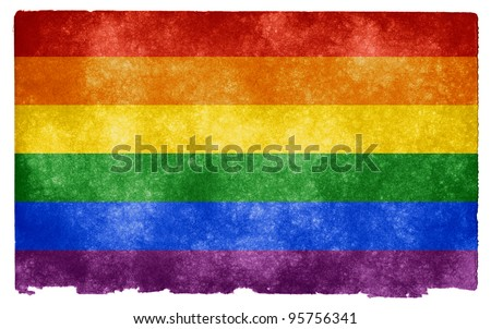Grungy Gay Pride Flag on Vintage Paper