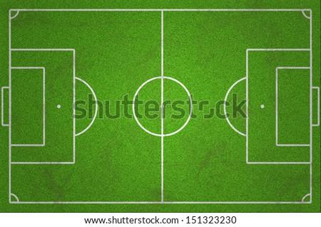 Grungy green soccer field - stock photo