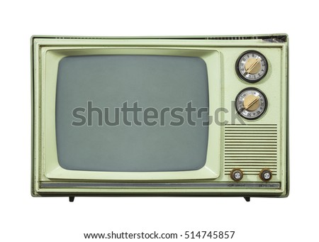 Grungy green vintage television set isolated on white.