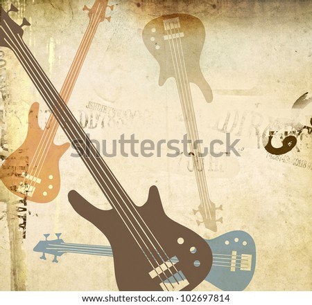 grungy guitar - retro background - stock photo
