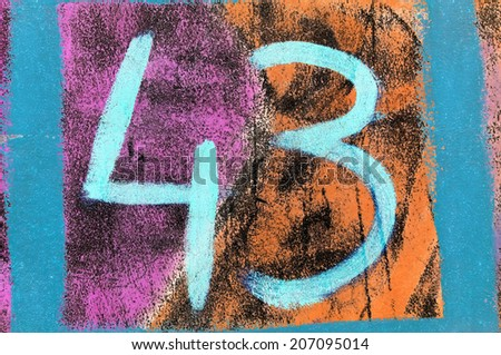 Grungy hand painted number 43. - stock photo