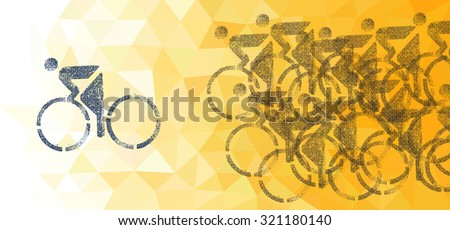 Grungy illustration print of a cyclist racer ahead of the peloton against a golden low poly background. - stock photo