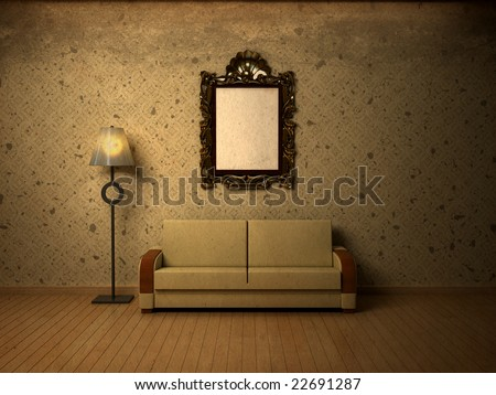 Grungy interior with simple beige wallpaper. Possible idea for visual shop window design. Plenty of copy space. Frame left blank intentionally. - stock photo