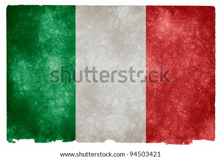 Grungy Italian Flag on Vintage Paper