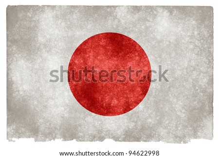 Grungy Japanese Flag on Vintage Paper - stock photo
