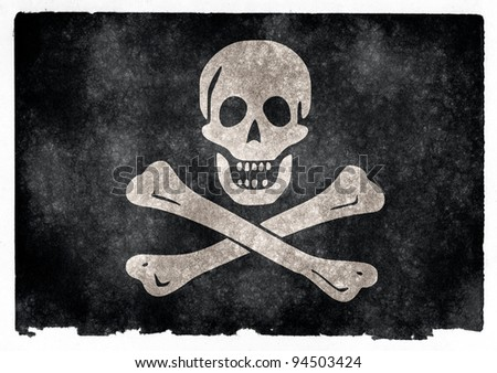 "Grungy Jolly Roger Flag on Vintage Paper (Jolly Roger being a common ""mascot"" for old-world sea pirates, with skull and crossbones as depicted here) - stock photo"