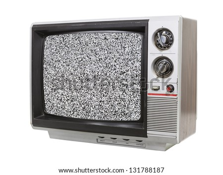 Grungy little television isolated with static screen.