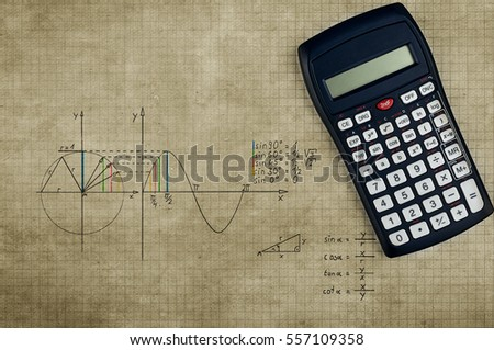 Grungy maths background - calculator and sine-function