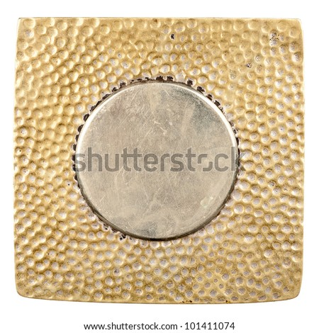 Grungy metal plate isolated on white background - stock photo