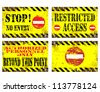 Grungy metal sign illustrations. Stop, no entry, restricted access. - stock photo