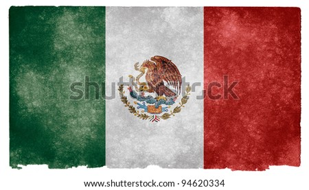 Grungy Mexican Flag on Vintage Paper - stock photo