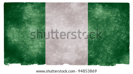 Grungy Nigerian Flag on Vintage Paper - stock photo