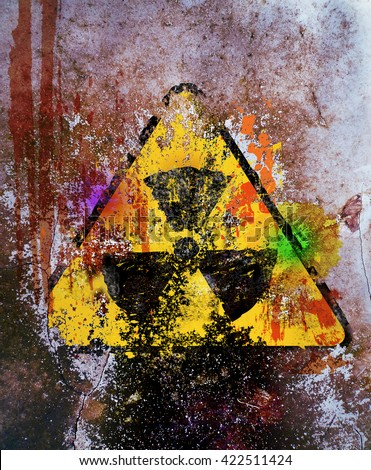 grungy nuclear radiation warning sign, free copy space - stock photo