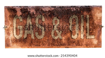 Grungy Old Gas And Oil Sign On A White Background - stock photo