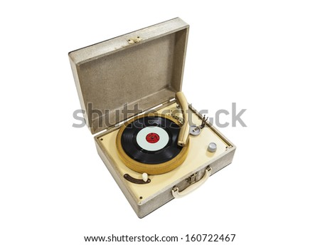 Grungy old record player isolated with clipping path.