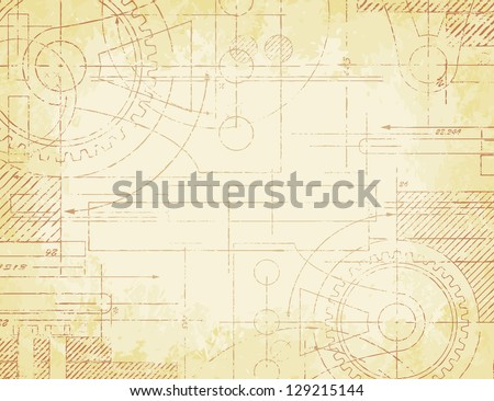 Grungy old technical blueprint illustration on faded paper background - stock photo