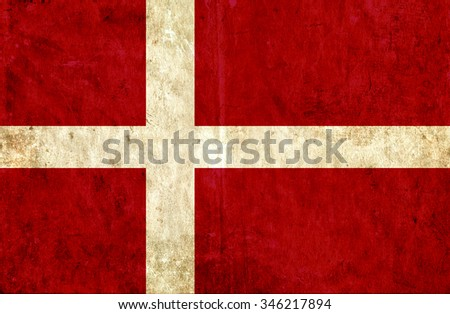 Grungy paper flag of Denmark - stock photo