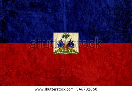 Grungy paper flag of Haiti