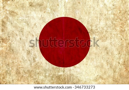 Grungy paper flag of Japan