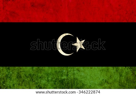 Grungy paper flag of Libya - stock photo