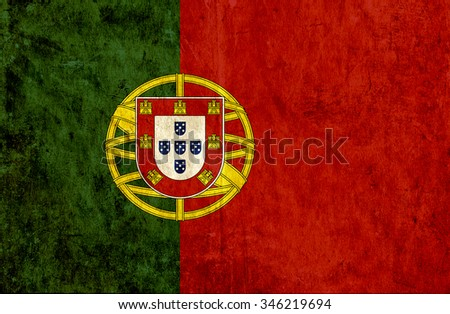 Grungy paper flag of Portugal - stock photo