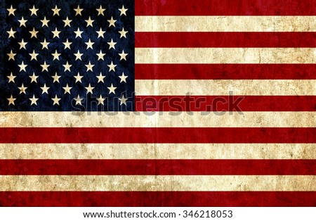 Grungy paper flag of United States of America