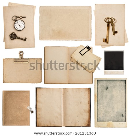 Grungy paper sheets with clock and key isolated on white background. Used cardboard texture - stock photo