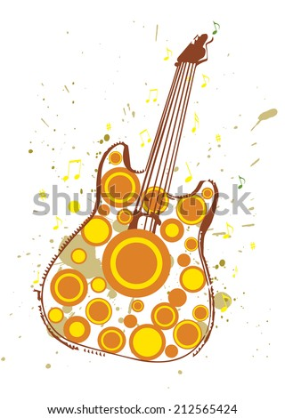 Grungy Poster Illustration of Autumn Themed Guitar - stock photo