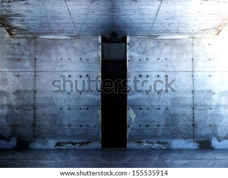 Grungy raw concrete space interior. Concrete wall and floor. - stock photo