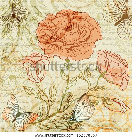 Grungy retro background with roses. Raster copy