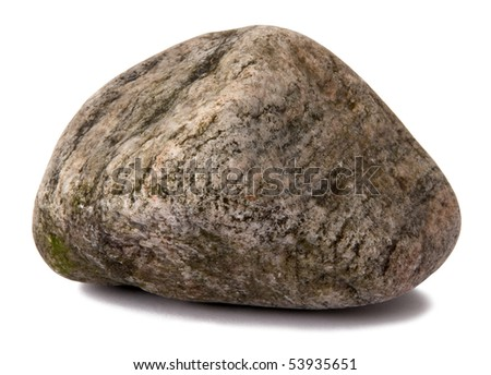 Grungy rock isolated on white - stock photo