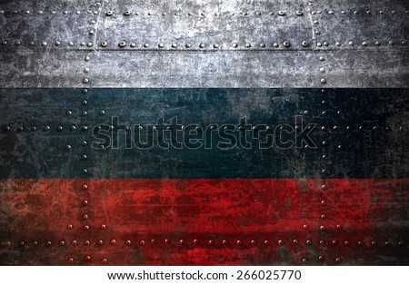 Grungy Russia flag On a  Metal Texture - stock photo