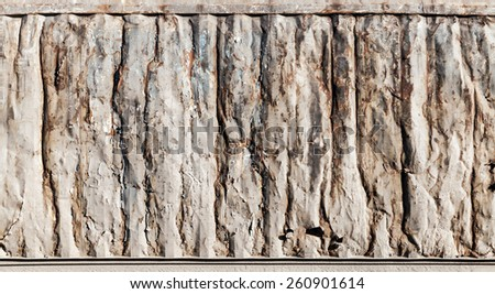 Grungy rusted metal wall texture, industrial cargo container side - stock photo