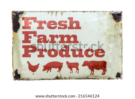 Grungy Rustic Vintage Sign For Fresh Farm Produce - stock photo