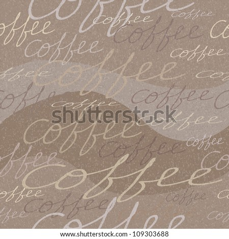 Grungy seamless pattern with coffee inscriptions - stock photo