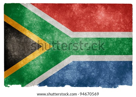Grungy South African Flag on Vintage Paper