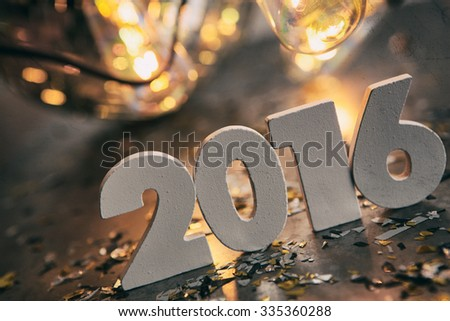 Grungy, steampunk type background images for New Year's Eve 2016. - stock photo
