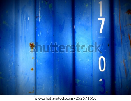 Grungy,  steel barrack wall texture background (with number 17 0) - blue style - stock photo