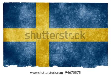 Grungy Swedish Flag on Vintage Paper - stock photo
