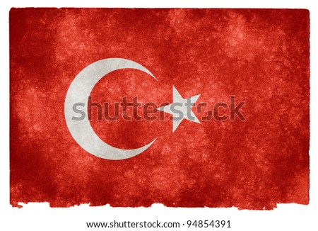 Grungy Turkish Flag on Vintage Paper