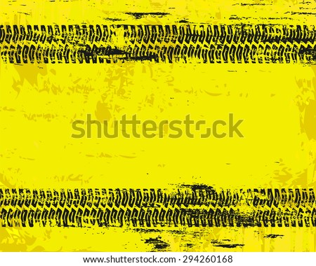 Grungy tyre marks tread pattern on warn sign background  - stock photo