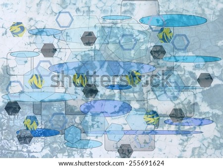 Grungy  unique  colorful textured  modern  geometric abstract design superimposed  with oval and   rectangular motifs on a  plain background ideal for wallpapers  and retro backgrounds. - stock photo