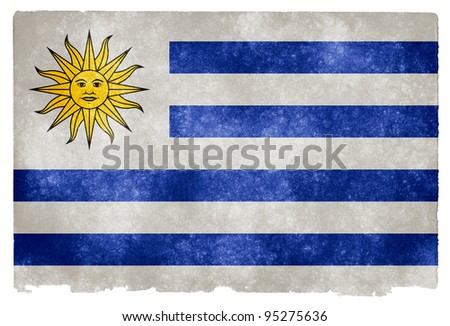Grungy Uruguayan Flag on Vintage Paper - stock photo